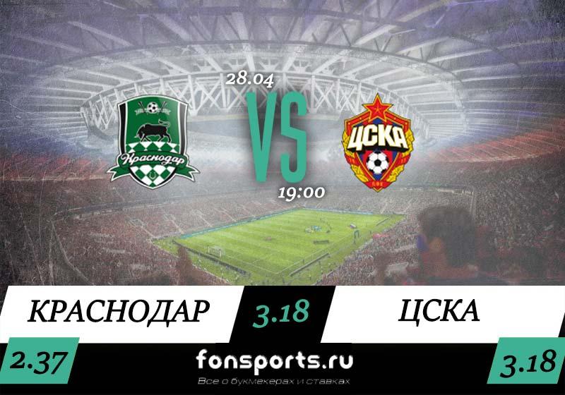Краснодар – ЦСКА. Прогноз и статистика (28.04.2019)