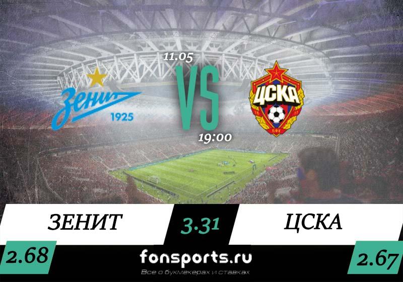 Зенит – ЦСКА прогноз на футбол (12 мая 2019)