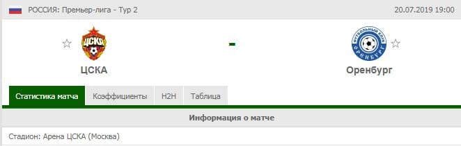ЦСКА – Оренбург прогноз и статистика, 20 июля 2019