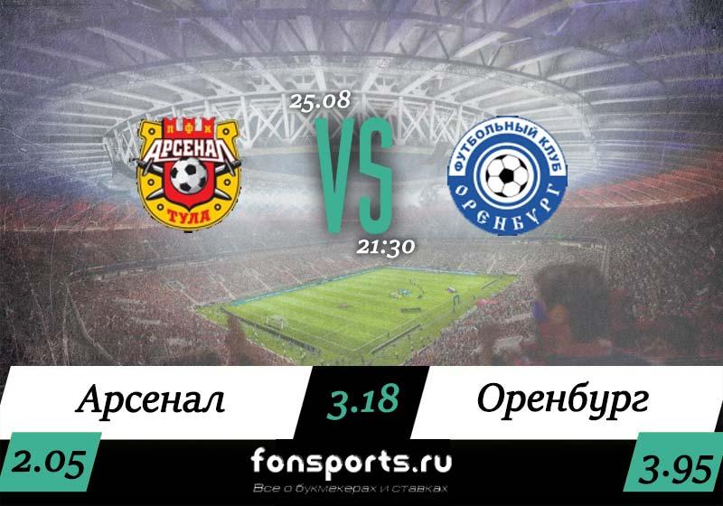 Арсенал Тула – Оренбург прогноз и статистика (25.08.2019)