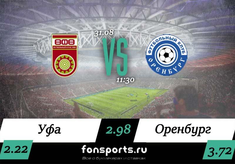 ФК Уфа – ФК Оренбург прогноз и статистика, 31 августа 2019