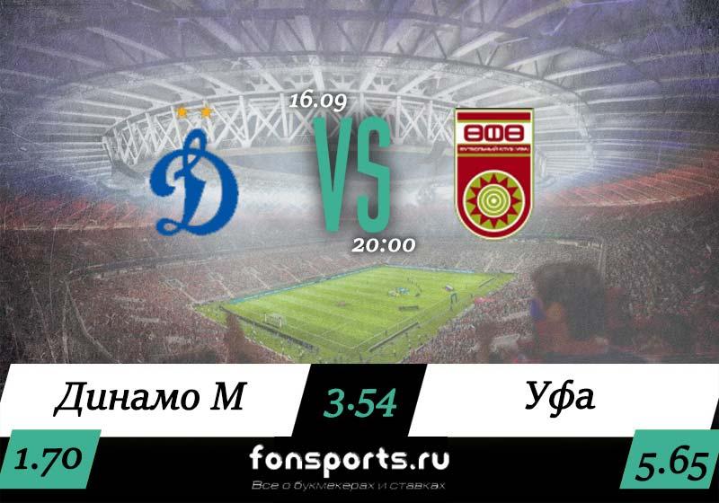 «Динамо Москва» – «Уфа»: прогноз и статистика 16 сентября 2019