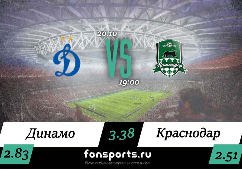 Динамо – Краснодар прогноз и статистика (20.10.2019)