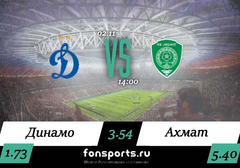 Динамо – Ахмат: прогноз и статистика на 2 ноября 2019