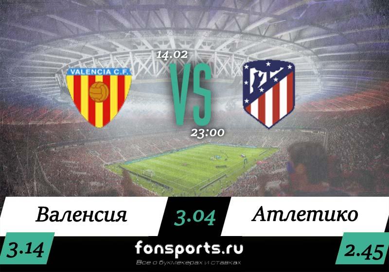 Валенсия – Атлетико: прогноз и ставка на чемпионат Испании (14.02.2020)